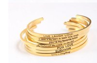 Wholesale Wholesale Bracelets Positive - Manufacturer Custom Gold Stainless Steel Engraved Positive Inspirational Quote Hand Stamped Cuff Bracelet Bangle For Women Jewelry