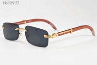 Wholesale Wood Legs Square - Wood Sunglasses For Mens Designer Sunglasses Vintage Gold Metal Alloy Rimless Wood Legs Clear Lenses Vintage Retro Sun glasses