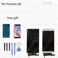 huawei artan cam sayısallaştırıcı toptan satış-Toptan Satış - Huawei Ascend P6 Toptan - 100% Orijinal Beyaz Siyah Pembe LCD Ekran + Dokunmatik Ekran + Sayısallaştırıcı Cam Meclisi P6S P6-U06 C00 T00 S-U06