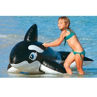 Wholesale Giant Eyes - Eye-catching Swimming Rings Giant Pool Float Black Whale Dolphin Lifelike Style Baby Floating Rings Inflatable Children Kids Toys PVC