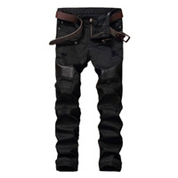 Wholesale Leather Denim Jeans Men - Wholesale- NEW Hi-Street Men Ripped Biker Jeans Pants Leather Patchwork Distressed Denim Slim Fit Straight Trousers Red White Black Jean