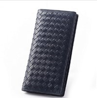 Wholesale Wallet Style Folder - Men Genuine Lamb Leather Wallets Knitting Bill Folder High end Purse Long Style Christmas Gift
