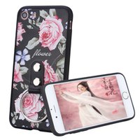 Wholesale Diamond Cellphone - 3D Relief Touch Flower Luxury Diamond Ring Phone Case For iPhone 6s 7Plus 7, TPU+PC Ring Holder Cellphone Case For iPhone 6sPlus 6
