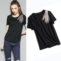 Wholesale Designer Casual Shirts Women - Designer Style Runway Women Sequined T Shirts 2017 Summer Cotton O Neck Short Sleeve Blacks Tees Casual White Tops Brand Apparel