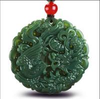 Wholesale natural green jade pendant - New fashion design independent natural genuine Hetian jade jade dragon brand dragon jade pendant of lovers
