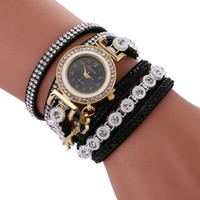 Wholesale Key Leather Bracelet - Women new long straps leather diamond love key pendant bracelet watch wholesale 2017 fashion casual ladies dress quartz watches