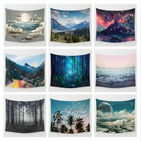 Wholesale Wholesale Baby Baths - 10 Designs 130cm*150cm Landscape Beach Towel Bohemian Style Shawl Polyester Fibre Cappa Rectangle Wall Tapestry Soft Mat Towel CCA6373 50pcs