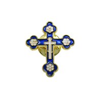 Wholesale Blue Cross Brooch - 50pcs of Gold Tone Royal Blue Catholic Metal Cross Brooches Lapel Pins
