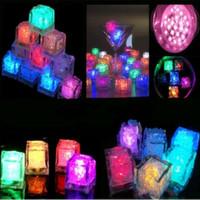 Wholesale lit up wedding centerpieces resale online - High quality LED Light Up Glow Ice Cubes Wedding Party Centerpieces Decor Christmas Lights
