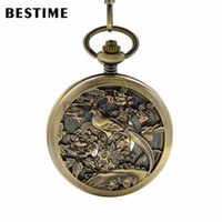 Wholesale Bronze Pocket Watch Mechanical - BESTIME Watch Retro Bronze Hollow Flower and Bird Mechanical Pocket Watch Roman Numerals Black Dial with Chain