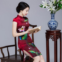 Wholesale Sexy Silk Cheongsam Red - QQI376 New red silk dress red silk cheongsam stand collar Chinese cheongsam dress