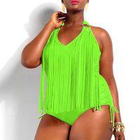 trajes de baño de flecos para las mujeres al por mayor-Más el tamaño de una pieza de borlas traje de baño Sexy con cuello en V mujeres traje de baño acolchado Boho Fringe traje de gran tamaño ropa de playa Brasil Bikini traje de baño desgaste