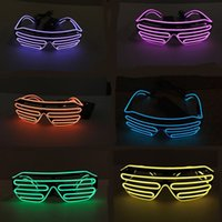 Wholesale Portable Spectacles - EL Wire Light LED Glasses Popular Plastic Shutter Shape Flash Eyeglass Colorful Novelty With Battery Spectacles Portable 15xz B