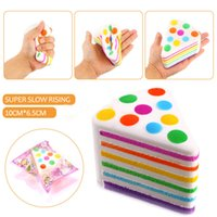 Wholesale New Rainbow Rose - 2017 New Arrival Jumbo 10CM Kawaii Squishy Rainbow Cream Cake Super Slow Rising Scented Squeeze Fun Gift Toy
