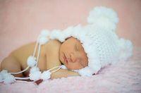Wholesale beanie bear crochet hats resale online - Retail White Snow Baby Girls Hat Princess Knitted Bear Beanie Bonnet Newborn Infant Headwear Cute Animal Hat Cap Cotton Newborn Photo props