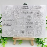 Wholesale Deer Stamp - Wholesale- Christmas Deer Transparent Clear Silicone Stamp Seal for DIY scrapbooking photo album Decorative clear stamp sheets
