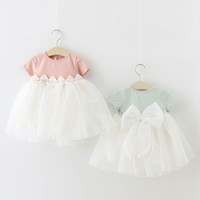 Wholesale Waist Tutu Dress - 2017 Summer New Girl Dress Lace On Waist Back Gauze Bow Princess Dress Children Clothing 1-4T Z443