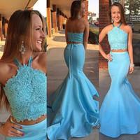 Wholesale sequin satin belts resale online - Sexy Halter Blue Two Pieces Long Mermaid Prom Dresses Beaded Sequins Lace Appliques Satin vestido with Belt