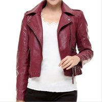 Wholesale Sexy Red Leather Jacket - Wholesale- Red Leather Jacket Women 2017 New Fashion Autumn Long Sleeve Slim Sexy Short Coats Black PU Motorcycle Jacket Plus Size 3XL