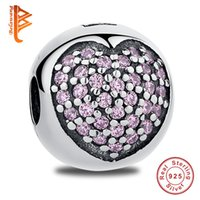 Wholesale Bracelet Charms Clip 925 Silver - BELAWANG European 925 Sterling Silver Clip Lock Beads Pink Love Heart Charms with Cubic Zircon Fit Pandora Charm Bracelet For Women Jewelry