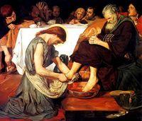 Wholesale Painting Canvas Jesus - Framed Christian Print Last Supper JESUS Christ Washing Feet Disciple,Pure Handpainted Portrait Art Oil Painting On Canvas.Multi Sizes Js005