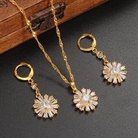 Wholesale Yellow Stone Diamond Necklace - Zircon CZ Micro Pave Jewelry Sets for Women 18K Yellow Solid Fine Gold GF Cubic Stone Imitate Diamond Necklace Blossom Earrings Wedding