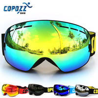 Wholesale Snow Ski Goggles Glasses - COPOZZ Ski Goggles Double Layers UV400 Anti-fog Big Ski Mask Glasses Skiing Men Women Snow Snowboard Goggles 2528002