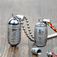 Wholesale Buddhism Mantras - Stainless Steel Om Mani Padme Hum S Pendant Necklace For Women Men Buddhism Party Vintage Necklaces Mantra Bottle Ash Urn Necklace Jewelry