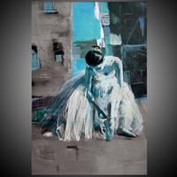 Wholesale Modern Woman Figure Art - Ballerina Dancing Girl Painting ,Beautiful Ballet Woman Handpainted Canvas Art For Figure Unframed Modern Art Portrait For Home Art Decor