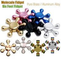 Wholesale New Hexagon Molecule Fidget Spinner Hand Spinners Pure Brass Aluminum Alloy CNC Six Angle Finger tips Heads Hands Detachable Novelty Retail