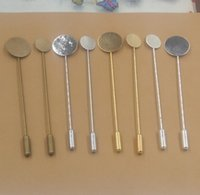 Wholesale Disc Pads - Bulk 10MM disc 15MM pad silver   rose gold   antique bronze plated copper long lapel pin base, blank stick pin brooch settings bezel trays