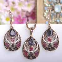 Wholesale Vintage Emerald Crystal Necklaces - 2017 new Vintage Women Necklace Earrings Sets Antique Gold Turkish Jewelry Set Blue Acrylic Heart Pendant Colar Long Pendientes Brincos