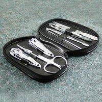 Wholesale Stainless Steel Nail Scissors - Wholesale- Cheaper 7Pcs Set Nail Art Manicure Set Portable Stainless Steel Nail Clippers Nail Scissors Nails Art Tool Suit
