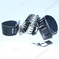 Wholesale leather cock scrotum ring - Metal leather cock cage penis harness ball scrotum stretcher restraint male chastity device 5 ring penis cage bondage sex toys