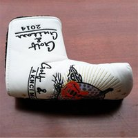 Wholesale Embroidery Piano - Piano white golf putter head cover straight bar golf push rod cover embroidery pattern high grade thickening golf headcovers for putter