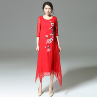 Wholesale Embroidered Silk Chiffon - Chinese style Embroider flower real silk long dresses WOMEN fashion elegant O-neck half sleeve dress Factory wholesale Customized OEM