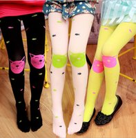Wholesale Eat Cats - 2017 spring new cat eat fish girl velvet pantyhose 5-10 year candy color thin section children's bottom Rompers Siamese socks L58