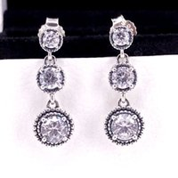 Wholesale Jewelry Accessories Authentic Silver Eternal Elegance Drop Earrings With Clear CZ Fits European Style Jewelry CZ