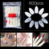 Wholesale Acrylic Nail Practice Finger - New 600pcs Natural False Nail Tips Sharp Full Nail Fake Tips 10 Size Acrylic UV Gel Nail Art Tips Manicure Practice Tools 2017