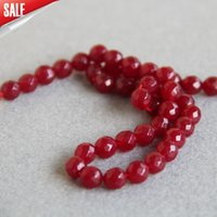 Cuentas De Jade Rojo Oscuro Baratos-Venta caliente 8mm Facetas NEW <b>DARK RED jade beads</b> Jasper beads Ronda DIY Beads piedras 15 pulgadas Jewelry making design wholesale
