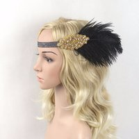 Wholesale Black Feather Headpieces - Hair Accessories Black Rhinestone Beaded Sequin Hair band 1920s Vintage Gatsby Party Headpiece Women Flapper Feather Headband 8pcs