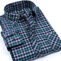 camisa de negocios de hierro al por mayor-Al por mayor-Nueva llegada de la ropa de moda de los hombres de manga larga de alta calidad no de hierro cepillado camisas de cuadros de franela de negocios camisa casual para hombres