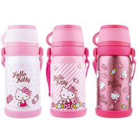 Wholesale Children vacuum bottle student thermos flask stainless steel cup cartoon mug kids bottle with strap cup lid ml