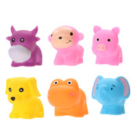Atacado - 6pcs Soft Rubber Float Squeeze Sound Dabbling Brinquedos Baby Wash Bath Jogar Animais Dog Monkey Elephant Pig Cow Bath Toy