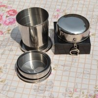 Wholesale Travel Folding Cup Stainless Steel - Stainless Steel Portable Outdoor Travel Camping Folding Foldable Collapsible Cup 75ml