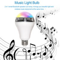 Wholesale E27 Led Iphone - 2017 Smart LED Bulb light wireless Bluetooth Speaker Dimmable Color E27 Lamp Audio speaker for iPhone samsung Android phone