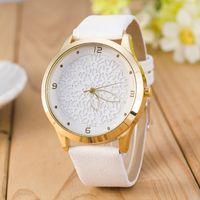 Wholesale Battery Snowflake - Wholesale- Ladies watch fashion brand quartz watch Leather belt rose gold snowflake background 2016 new casual women bracelet watch