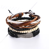 Wholesale Green Wooden Beads - hot sale simple fashion jewelry Wings feather alloy wooden beads braided men diy multi layer faux leather bracelet
