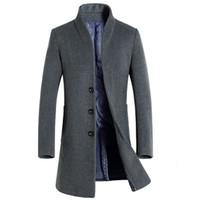 Wholesale Mens Wool Cashmere Blend Overcoats - Wholesale- Long Wool Coat Men 2016 New Arrival Mens Cashmere Coat Brand Wool Blends Pea Coat Jacket Men Slim Fit Manteau Homme Overcoat