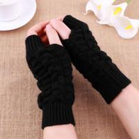 Wholesale Cashmere Gloves Sale - Unisex Knitted Long Stretchy Fingerless Gloves Mitten Men Women Winter Gloves Hand Arm Warmer female gloves 2016 Hot Sale